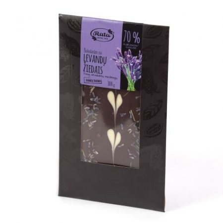 Chocolate with lavender flowers 70%, source of fibre, 100g