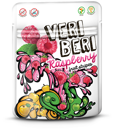 VERI BERI raspberry fruit stripes, box of 24 / VEGAN