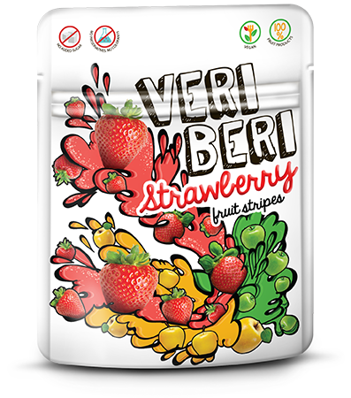 VERI BERI strawberry fruit stripes, box of 24 / VEGAN