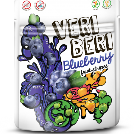 VERI BERI wild blueberry fruit stripes, box of 24 / VEGAN