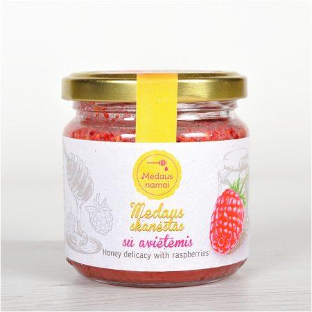 Raw honey with raspberries, 200g